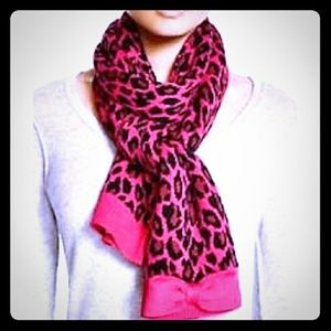 Kate spade leapord print pink and black scarf